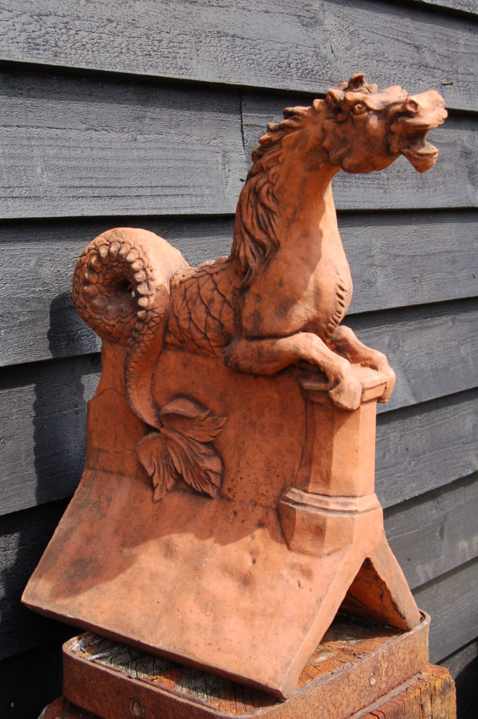 Horse Serpent Roof Ridge Tile £149. Made to order by experienced craftsman. Buy online or visit Debden Barns Antiques Saffron Walden, Essex/