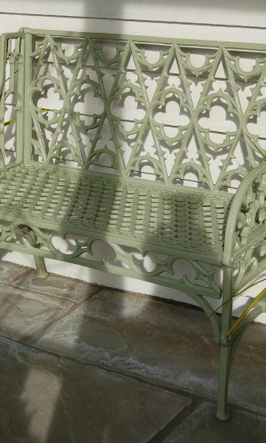 Val d'Osne Bench - a copy of early 19th century bench by the art foundry of Val D'Osne France. Buy online or visit Debden Barns Antiques Saffron Walden.