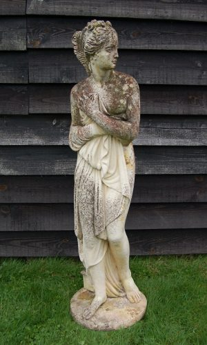 Weathered Cast Stone Figure of Pandora, round base, circa. 1960. Very good condition. £295. Buy online or visit Debden Barns Antiques Saffron Walden, Essex.