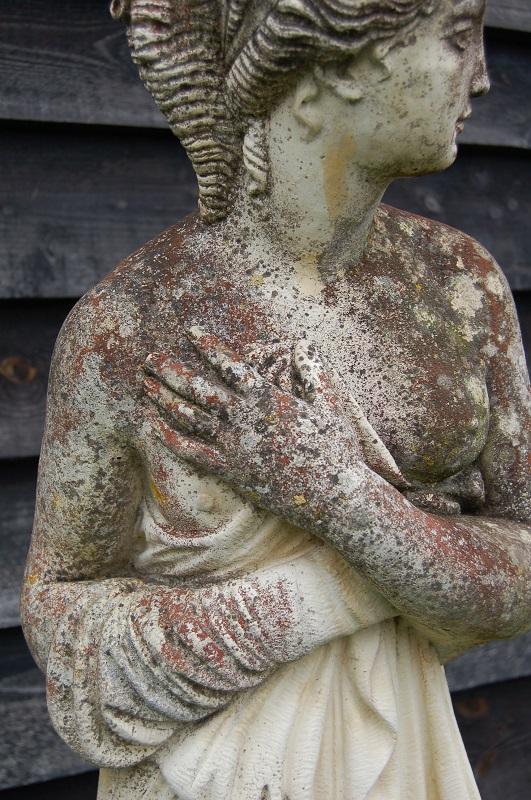 Weathered Cast Stone Figure of Pandora, round base, circa. 1960. Very good condition. £295. Buy online or visit Debden Barns Antiques Saffron Walden, Essex.
