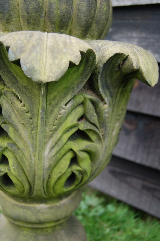 19th Century Carved Stone Finial £395. Finely carved acanthus shaped finial with bud top. Purchase online or at Debden Antiques, Saffron Walden, Essex.
