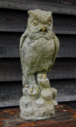 Vintage Painted Stone Owl perched on logs. Original Paint. £49. Buy online or visit Debden Barns Antiques, Saffron Walden, Essex.