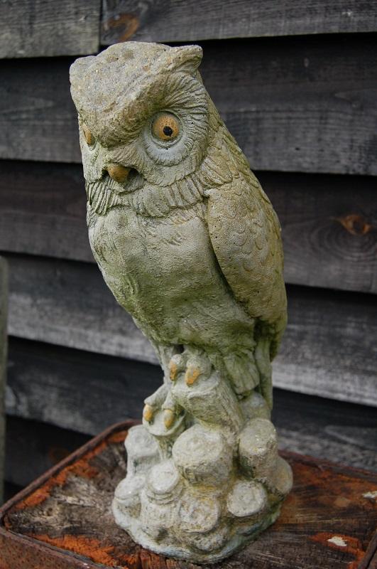 Vintage Painted Stone Owl perched on logs. Original Paint. £49. Buy online or visit Debden Barns Antiques, Saffron Walden, Essex.