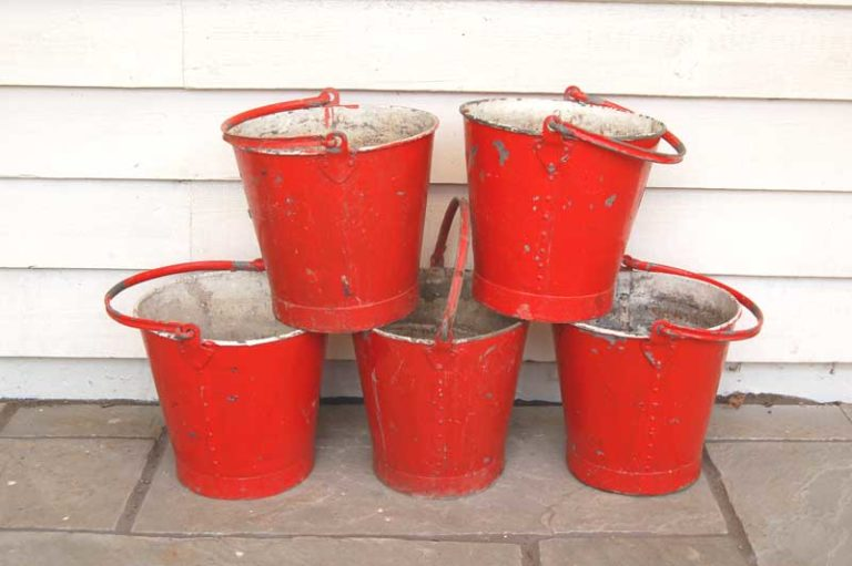 Original Fire Buckets, rivetted construction. £25 each. Buy online or make a visit to Debden Barns Antiques Saffron Walden, Essex.