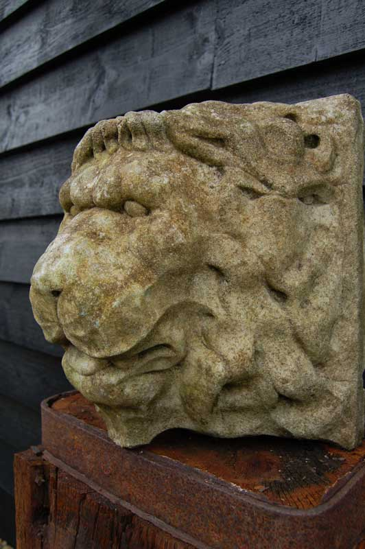 Stone Lion Mask Wall Fountain made by Courtyard Garden Antiques. £68. Buy online or visit Debden Barns Antiques Saffron Walden Essex