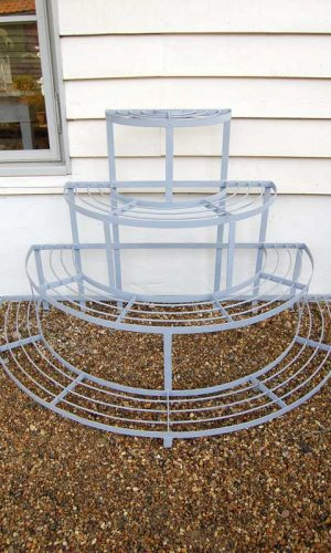 Four Tier Wrought Iron Plant Stand hand forged in the UK by a traditional blacksmith. £195. Buy online or visit Debden Barns Antiques Saffron Walden, Essex.