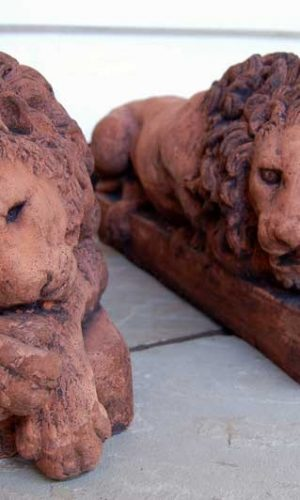 Pair of Lions after Conova copy of 19th Century original pair by Conova. £95. Buy online or visit Deben Barns Antiques Saffron Walden, Essex