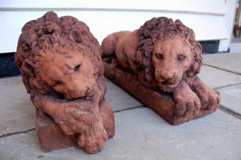 Pair of Lions after Conova copy of 19th Century original pair by Conova. £95. Buy online or visit Deben Barns Antiques Saffron Walden, Essex