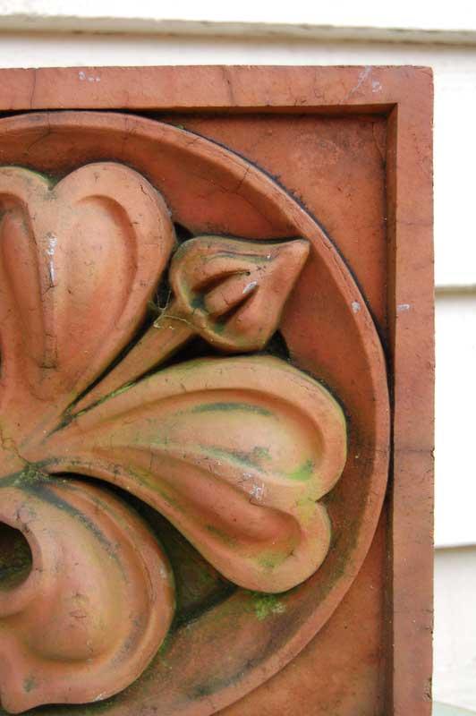 Pair of 19th Century Terracotta Brick Inserts with flower relief. £95.00. Buy online or visit Debden Barns Antiques Saffron Walden, Essex