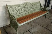 Passion Flower Bench 3 seater bench copy original by Coalbrookdale. £795. Buy online or visit Debden Barns Antiques Saffron Walden, Essex.
