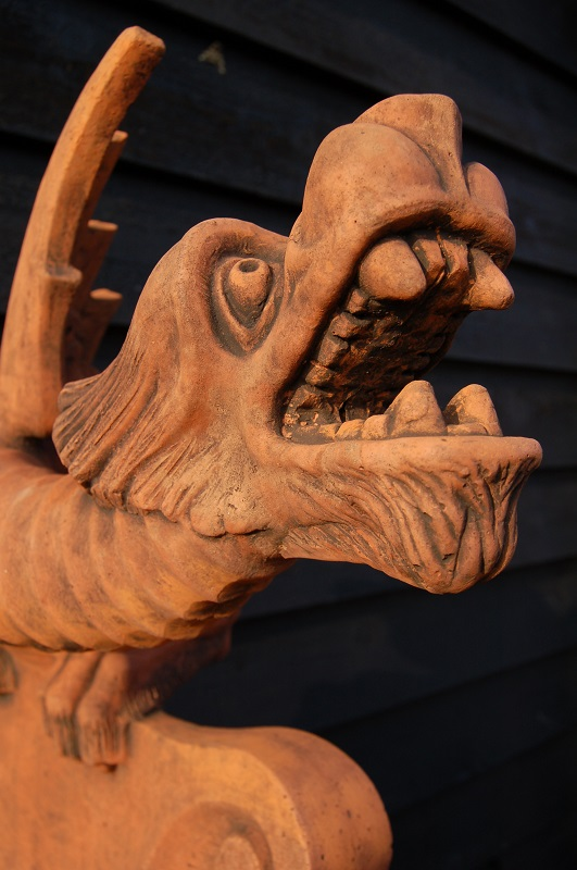 Long Tailed Fierce Dragon Roof Ridge Tile with detailed features £175. Buy online or visit Debden Barns Antiques Saffron Walden, Essex