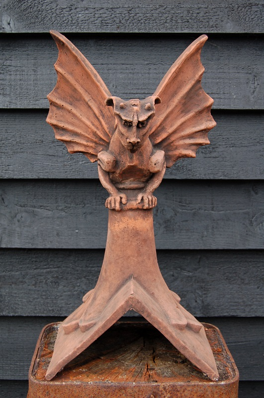 Winged Gargoyle Roof Ridge Tile with detailed features made in the UK. £98. Buy online or visit Debden Barns Antiques Saffron Walden, Essex.