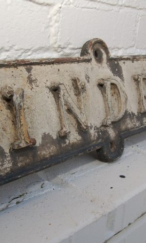 Reclaimed Victorian Street Sign. Cast Iron 'Linden Villa' 19th Centure with ornate lettering £125. Buy online or visit Debden Barns Saffron Walden, Essex.