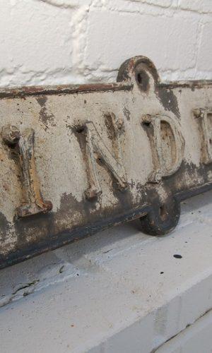Reclaimed Victorian Street Sign. Cast Iron 'Linden Villa' 19th Centure with ornate lettering £125. Buy online or visit Debden Barns Saffron Walden, Essex.