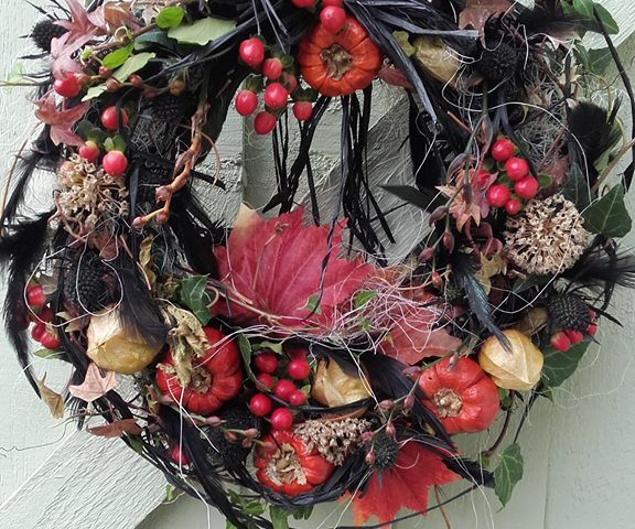 Dress your door for Halloween with a Spooky Wreath for your trick-or-treaters from Evergreen Florists at Debden Barns Saffron Walden. Only £30