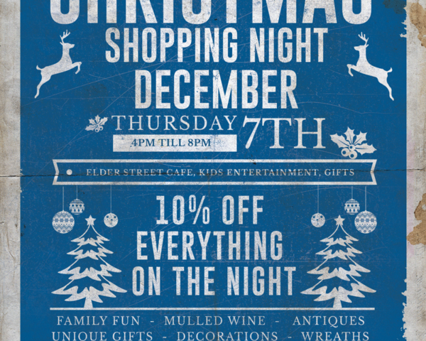 10% off everything at our Christmas Shopping Night. Join us on the 7th December 4pm till 8pm for Gifts, Great Food, Mulled Wine and Kids entertainment.