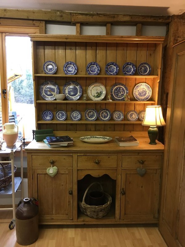 "A stunning Victorian pine dresser which would look great in any kitchen, with a boarded platerack over a base of three drawers and two cupboards with a ""dog kennel"" centre.  W: 153cm, D: 54cm, H: 212 cm. Buyoneline at www.debdenbarns.co.uk or visit Debden Barns in Saffron Walden, Essex."